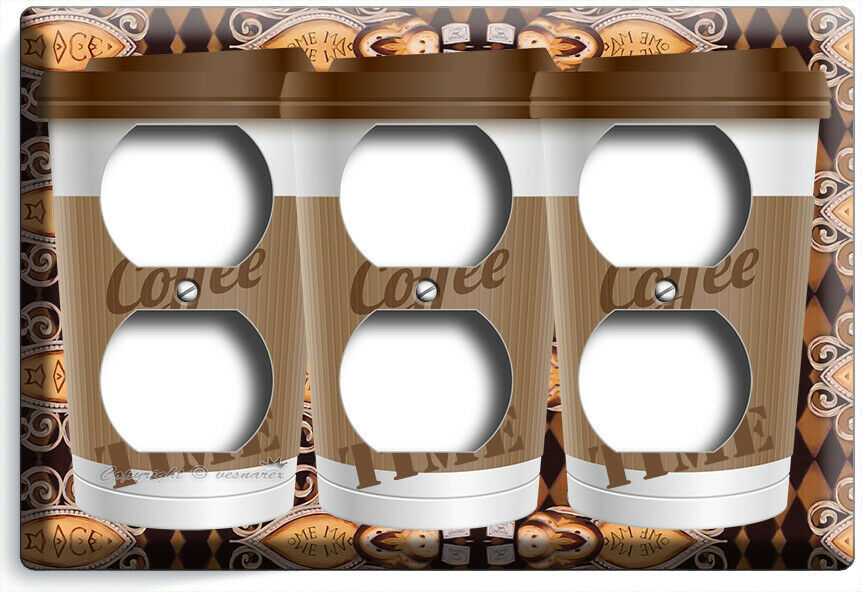 COFFEE TIME PAPER CUP LIGHT SWITCH OUTLET PLATE ROOM KITCHEN CAFE SHOP ART DECOR image 12
