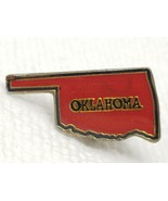 Vintage Red Black and Gold Metal Bubble State of Oklahoma Pin - $7.55