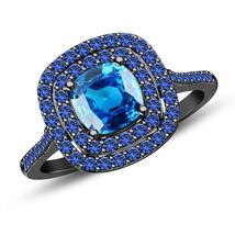 14k Black Gold Finish 925 Sterling Silver Blue Sapphire Womens Engagemen... - $84.99