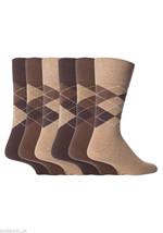 6 Pairs Mens Gentle Grip Socks Size 6-11 Uk, 39-45 Eur MGG22 Brown Argyle - $11.66