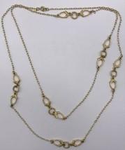"Trifari Sautoir 52"" Chain Necklace Gold-tone Open Metalwork Stations #17-2591 - $12.11"