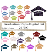 Glitter Graduation Caps-Digital Kit-Jewelry Tag-Clipart-Art Clip-Gift Ta... - $4.99