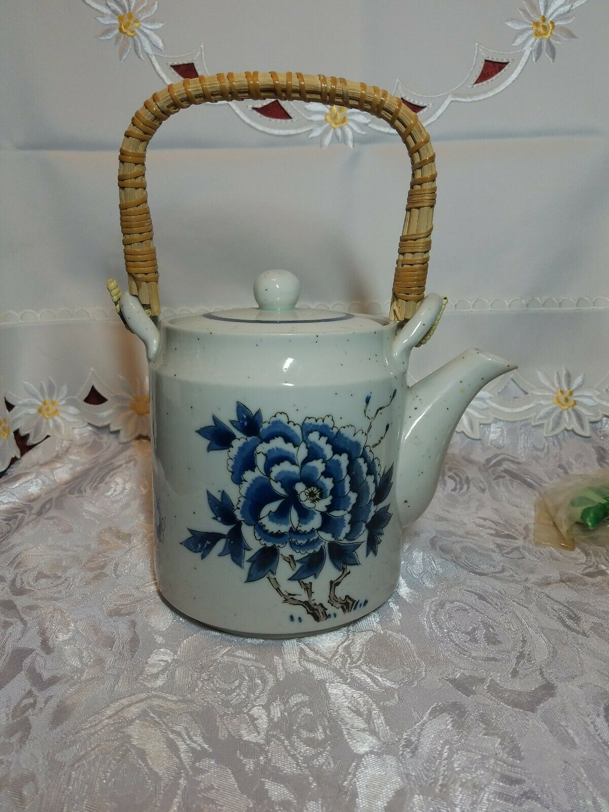 Otagiri Tea Pot Stoneware Bamboo Handle Blue Butterfly & Flowers on Gray Teapot