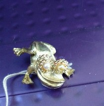 "2"" Gold Tone Happy Frog with Faux Pearl Eyes Brooch - $17.50"