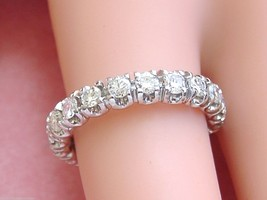VINTAGE MID-CENTURY 1.4ctw DIAMOND PLATINUM ETERNITY BAND RING 1950 size... - $2,375.01