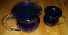 Set of 2 Cobalt Blue Hand Blown Glass Pitchers Applied Clear Glass Handles - $20.00