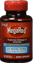 Schiff MegaRed Superior Omega-3 Krill Oil Extra Strength 500mg 80 Softge... - $15.99