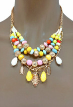 Multilayered Multi Strand Multicolor Beads Casual Everyday Necklace Earrings Set - $15.68