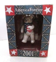 American Greeting 2001 America Forever Bear Patriotic Tree Ornament VTG NEW - $14.95