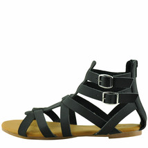 Bamboo Dino 99S Black Nubuck Women's Open Toe Strappy Gladiato - $25.95