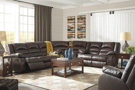 Ashley Levelland 17001 Power Sofa Set 4pcs in Cafe Leather Contemporary Style