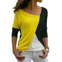 Black Yellow & White Asymmetrical Tee - $11.74