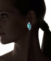 TOVA Turquoise Chalcedony and Swarovsky Crystal Long Post Earrings NWT image 2
