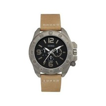 GUESS U0659G4 Men's Tan Leather Band Black Analog Watch - £72.21 GBP