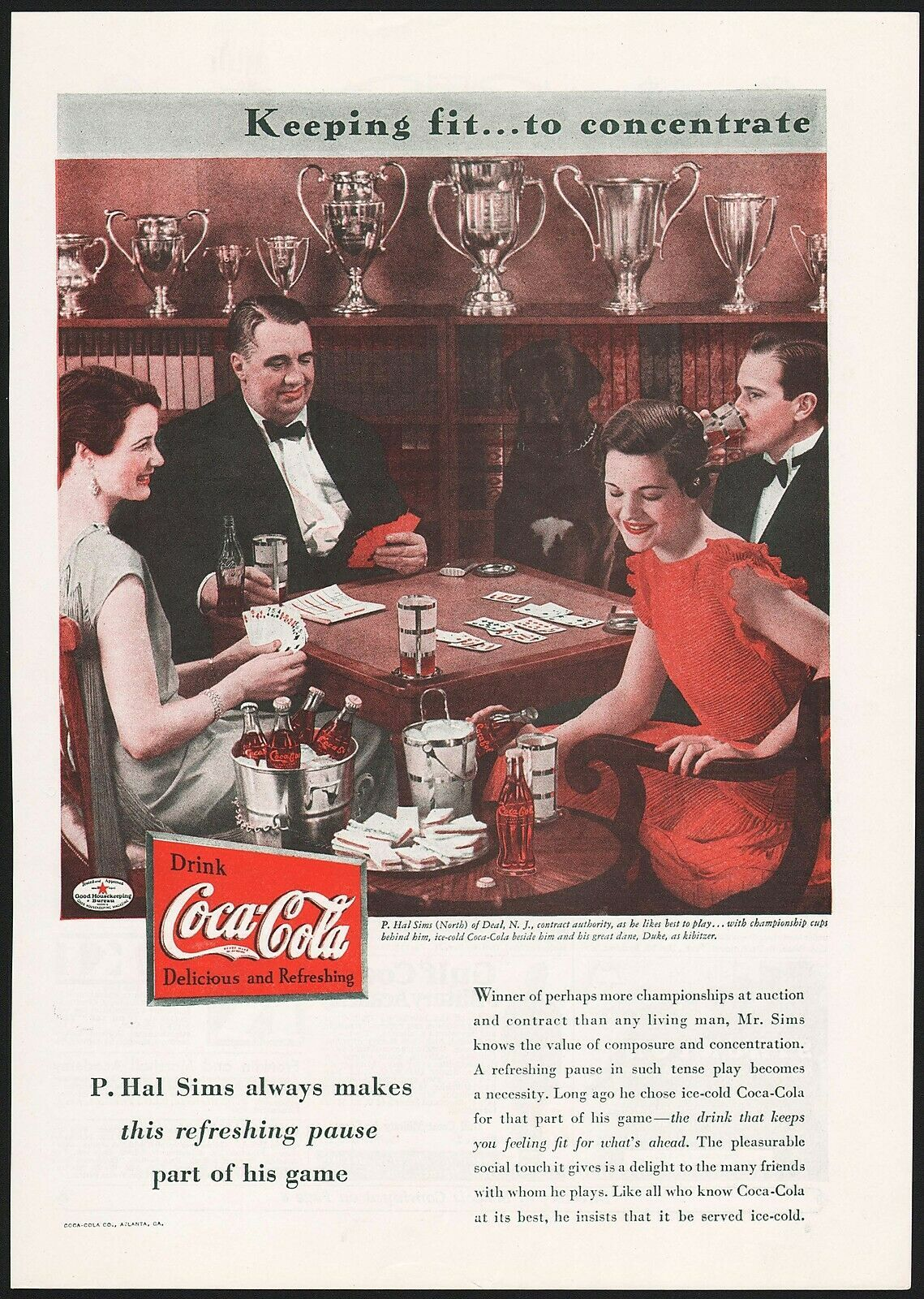 Primary image for Vintage magazine ad COCA COLA from 1934 picturing P Hal Sims on contract bridge