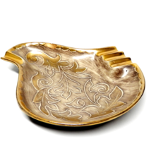 "Vintage California Pottery Vee Jackson Paisley Oak Leaves Ashtray Golds 8"" - $20.00"