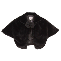 BLACK Super Soft Poncho Fur Coat with Quilted Lining and Ribbon Front Closure - $27.95