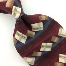 GEORGE MACHADO USA TIE GEOMETRIC MAROON/Brown Gray Silk Necktie Men Ties... - $15.83