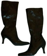 Etienne Aigner Sz 7.5 Brown Faux Leather Knee High Stiletto Womens Boots... - $38.14