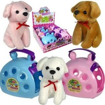 Plush Toy Stuffed Puppy Dog in Plastic Carrier (Pack of 12) - $64.30