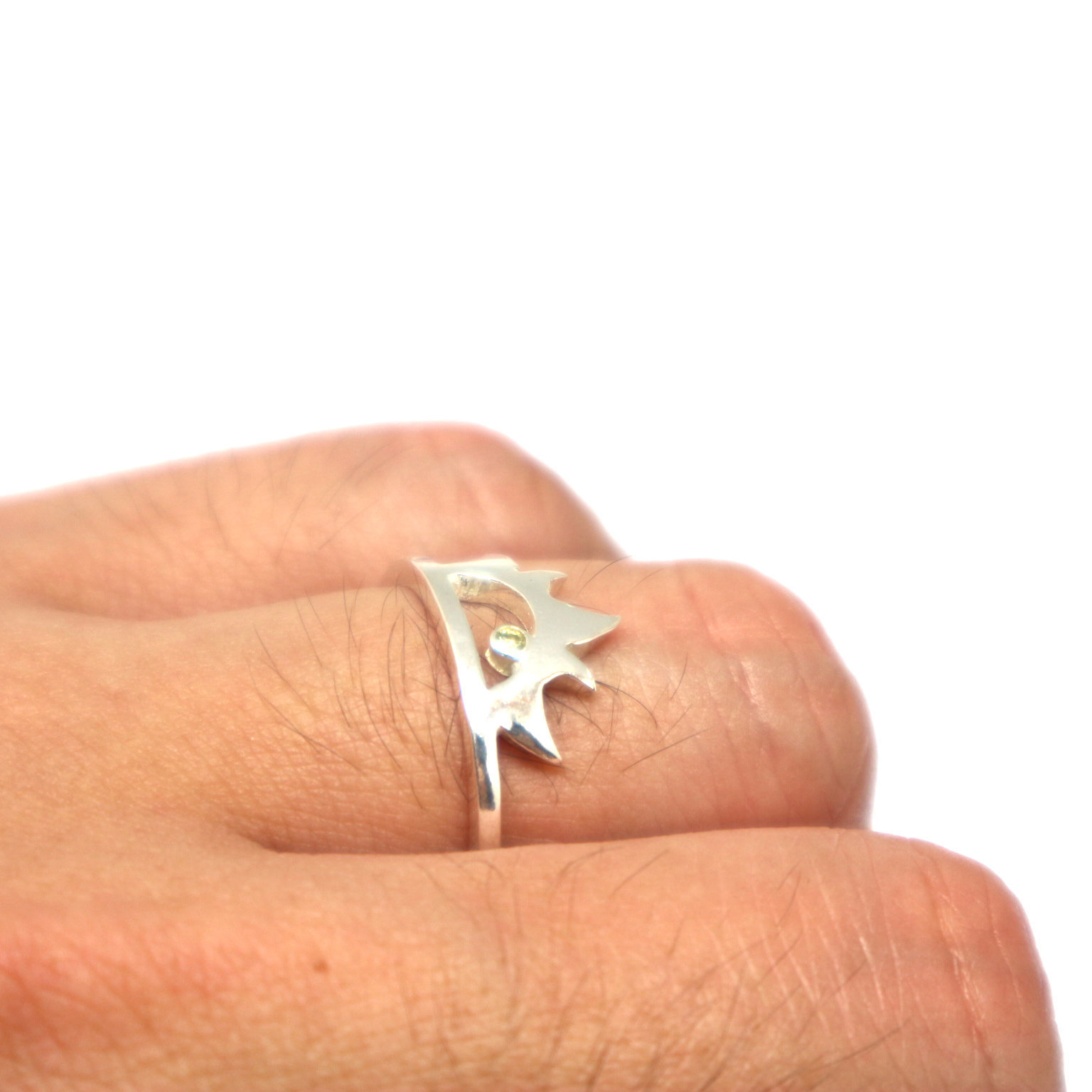 Silver Sun Ring with Birthstone image 6