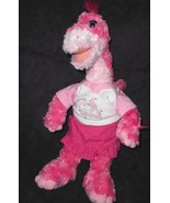 Build a Bear Dinosaur Pink Apatosaurus Plush Stuffed Animal MLB Cardinal... - $19.78