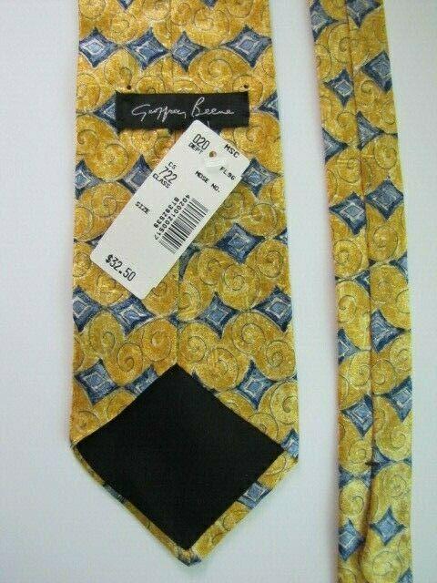 NEW Geoffrey Beene Silk Necktie Yellow Blue Diamond Pattern Luxury Brand Design