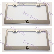 2X Lexus Logo Stainless Steel License Plate Frame Rust Free W/ Caps - $22.76