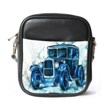 Sling Bag Leather Shoulder Bag Car Jeep Classic Drawing Painting In Blue Design  - $14.00