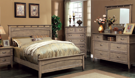 Transitional style 4 pieces Queen bedroom set in weathered oak Finish - €1.120,18 EUR