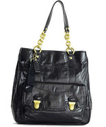 NWT Coach Black Leather Poppy Pushlock North So... - $284.54