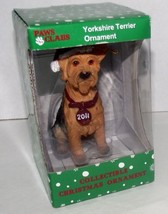 Yorkshire Terrier Christmas Ornament Dated 2011 Dog Paws Claus Stocking Cap NEW - $12.86