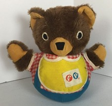 Vintage Fisher Price Cuddly Cub Chime Bear 1970s Musical Jingle Round Bo... - $8.86