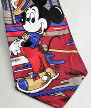 Mickey Mouse Tie Necktie Disney Mickey Unlimited Pineknot Motel Red 100%... - $10.93