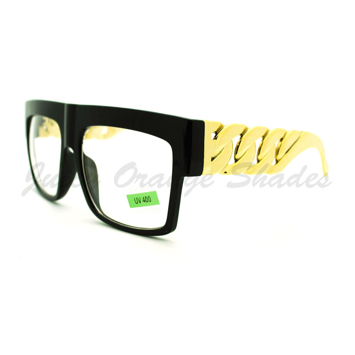 Thick Gold Chain Glasses Bold Square Designer Fashion Clear Lens