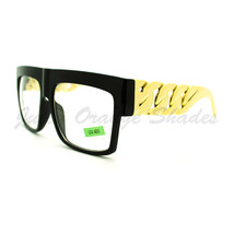 Thick Gold Chain Glasses Bold Square Designer Fashion Clear Lens - $6.95