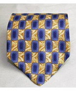 Barrington 100% Silk Mens Necktie Yellow Blue Geometric Design - $10.93
