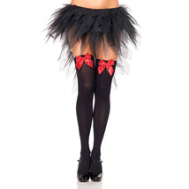 Leg Avenue Black Opaque Thigh Highs With Red Satin Bow Accent Sexy Stock... - $5.89