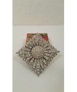 Vintage AJ Signed Crystal Pave Diamond Flower S... - $28.00