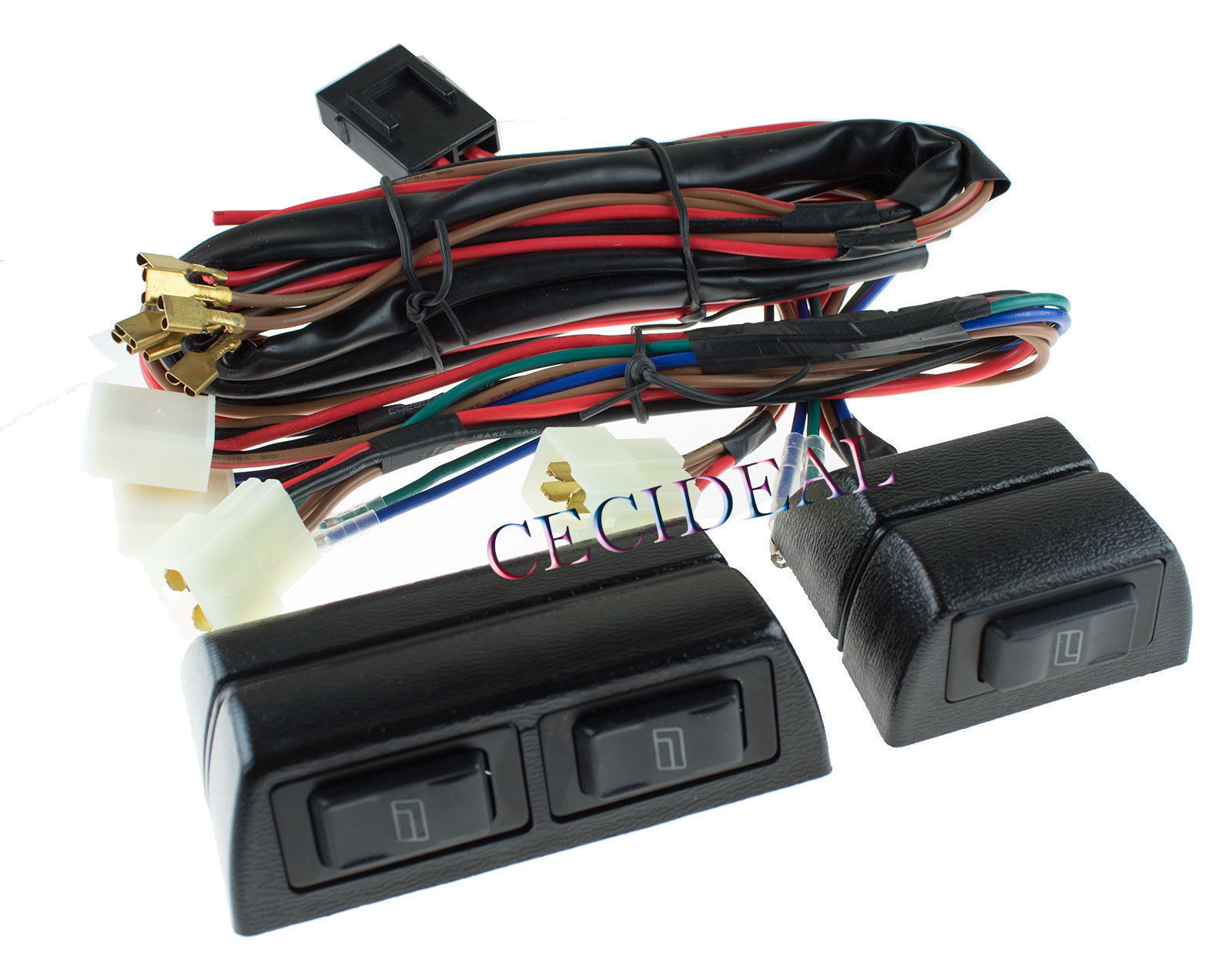 New Universal High Quality 12 Volts Power Window Switch Kit w/ Wire ...