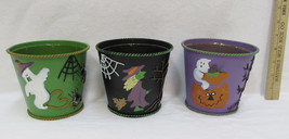 Halloween Pail Planter Lined Tin Bucket 3D Ghost Witch Spider Black Gree... - $6.99