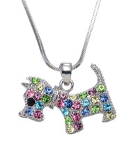 PammyJ Dog Necklace - Girls Puppy Dog Necklace Multi Color Crystals, 17' - $55.42
