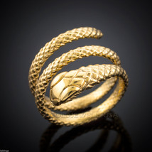 Solid Gold Coiled Snake Ring (yellow, white, rose gold) - £186.52 GBP+