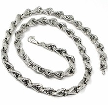 18K WHITE GOLD NECKLACE CHAIN ROUNDED DIAMOND CUT INFINITY ALTERNATE DROP 7mm image 1