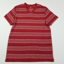 Old Navy Mens Shirt Size Small Red Short Sleeve Striped V-Neck Cotton Bl... - $10.78