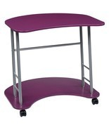 Computer Laptop Table Desk Purple Rolling Compact Workstation Dorm Offic... - £72.87 GBP