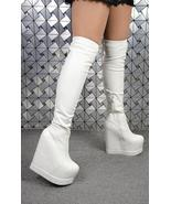 9BB153 Sexy 15 cm wedge over-the-knee boot, zip side,size 4-8, white - $68.80