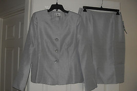 Le Suit New Womens Silver Three-Button Collarless Jacket Skirt Suit  8  ... - $56.42
