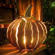 Desert Steel Orange Powder Coated Squatty Pumpkin Luminary - $69.33
