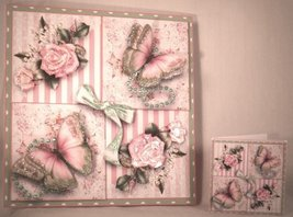 Handmade Greeting Card - Beautiful Rose & Flutters Multi-Occasion - $10.95